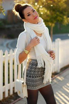 tights, skirt, and scarf
