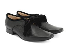 Fluevog Shoes | Shop | Era (Black) | Leather Shoe with Velvet Ribbon