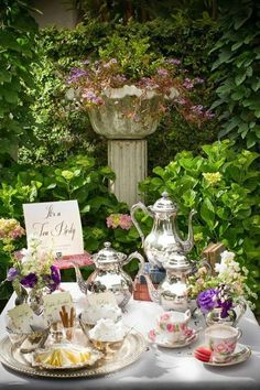 I like the silver tea pots, that way you can have mismatched china and the pot doesn't look out of place.