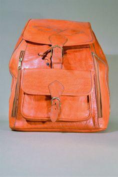Vintage Cognac Colored Leather Bag, Backpack, Rucksack