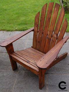 Pallet wood Adirondack chair Wood Adirondack Chairs, Outdoor Chairs, Outdoor Furniture, Outdoor Decor, Pallet Wood, Wood Pallets, Handmade Wooden, Creative, Home Decor