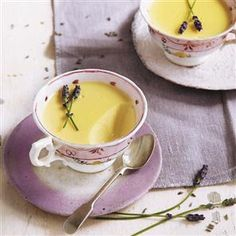 Lemon and lavender possets Can use caster sugar and raspberries instead of lavender