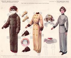 Polly's Paper Playmates: Sister Prue's Automobile Costume, March 5, 1911, The Boston Post. What an adventure that must have been, driving in those early open automobiles on dusty roads. Sister Prue was prepared.