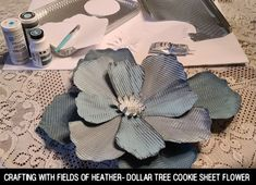 Fields Of Heather: Dollar Tree Cookie Sheet Metal Flowers diy dollar stores Dollar Tree Cookie Sheet Metal Flowers Dollar Tree Decor, Dollar Tree Crafts, Dollar Tree Flowers, Tin Flowers, Paper Flowers, Balloon Flowers, Fabric Flowers, Tree Cookies, Flower Cookies