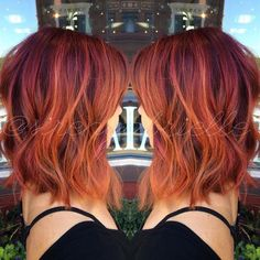 red balayage lob hairstyles 2017