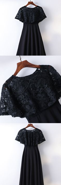 Only $99, Classy Cape Sleeve Lace High Waist Long Formal Dress Black #MYX18265 at #SheProm. SheProm is an online store with thousands of dresses, range from Formal,Evening,Black,Long Black Dresses,Long Dresses,Customizable Dresses and so on. Not only selling formal dresses, more and more trendy dress styles will be updated daily to our store. With low price and high quality guaranteed, you will definitely like shopping from us. Shop now to get $10 off!