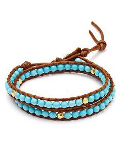 Chan Luu Turquoise Beaded Wrap Bracelet