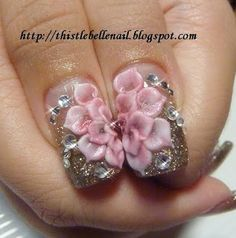 Lotus 3D Nail Art.  Would like to learn this petal technique. Flower Nail Art, Nail Art Designs, Flower Nail Designs, 3d Acrylic Nails, 3d Nails, Bling Nails, 3d Nail Art, Fancy Nails, Cute Nails