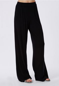 Pleated Waistband Jersey Wide Leg Trousers Black - Trousers - Missguided