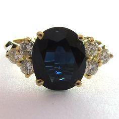 Bague de fiançailles saphir diamants 1014