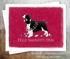 English Springer Spaniel Dog Christmas Card from the Breed Collection - Digital Download  Printable