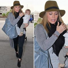 Hilary Duff: Hilary accessorized her travel style with a tan Rag & Bone fedora ($195) and her cute baby, Luca.