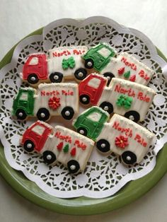 Alicia Pizer:  With some left over trucks - made into Elf delivery trucks.   Too cute!