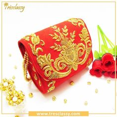 Our Exclusive Red Suede Zardosi Flap Bag.  Visit us @ www.tresclassy.com or contact us on 8655432303  #zardosi #red #handcrafted #vintage #bridal #ootd  #Tresclassy #bridal #queenstyle #bridalred #designer #clutches #accessories #fashion #shopping #luxury #igdaily #bigfatindianwedding #embroidery #Traditional #instacool #igers #followforfollow #follow #TresclassyClutches #f4f