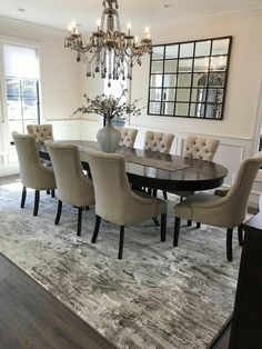 Our beautiful Ripplewater bound carpet in color Ecru installed in this stunning dining room. Visit us to see samples of Ripplewater and other Stanton Carpets! Dining Room Table Decor, Elegant Dining Room, Luxury Dining Room, Dining Room Design, Dining Room Furniture, Carpet In Dining Room, Dinning Room Colors, Dinning Room Ideas, Formal Dinning Room