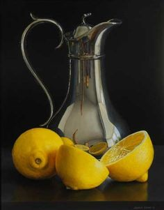 Jessica Brown,Tromp-l'oeil still life with Tall Silver Jug and Two Lemons