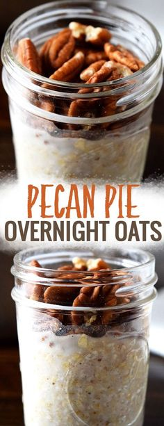 Pecan Pie Overnight Oats - these healthy overnight oats in a jar taste just like dessert! Plus this healthy breakfast is easy to make ahead and take on the go and you can easily incorporate the overnight oats into a meal plan or meal prep! Breakfast Dishes, Healthy Breakfast Recipes, Brunch Recipes, Healthy Snacks, Dessert Healthy, Healthy Breakfasts, Breakfast Smoothies, Oats In Smoothies, Eating Healthy