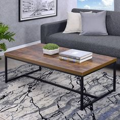 Bob Coffee Table in Weathered Oak & Black - Acme Furniture Bob occasional tables simply states that you are up with the times, with its industrial looks and the mixing of black metal with weathered oak. The thicker wood top is supported by lighte Coffee Table Metal Frame, Black Coffee Tables, Coffee Table Rectangle, Coffee Table With Storage, Modern Coffee Tables, Muebles Living, Coffee Table Wayfair, Acme Furniture, Weathered Oak