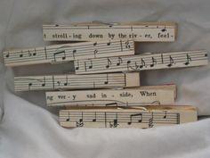 Antique Sheet Music Decorative Clothespins. $4.00, via Etsy.