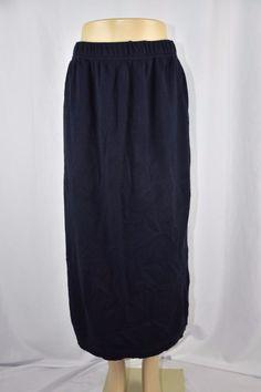 Karen Lessly Womens XL Dark Navy Blue Soft Sweater Skirt Stretch Long Modest #KarenLessly #Maxi #Casual