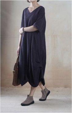 Linen Dress in Navy Blue