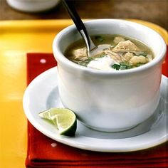 Posole (Tomatillo, Chicken, and Hominy Soup) | MyRecipes.com #MyPlate #protein #vegetable