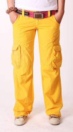 Old Cotton Cargo Woman Cargo Pant Yellow    Old Cotton Cargo Bayan Kargo Pantolon Sarı