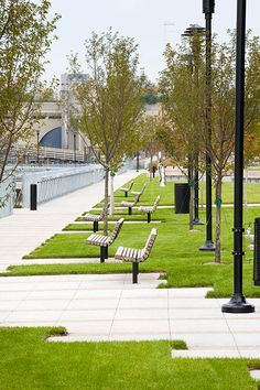 Urban landscape design - The West Harlem Piers ParkbyW « Landscape Architecture Works Landezine Park Landscape, Urban Landscape, Urban Furniture, Street Furniture, Modern Landscaping, Garden Landscaping, Landscaping Ideas, Hydrangea Landscaping, Farmhouse Landscaping