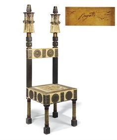 "Carlo Bugatti (1856-1940) - Throne Chair. Walnut, Copper, Pewter, Painted Vellum and Silk Tassels. Circa 1902. 51-3/4"" (131.5cm)."