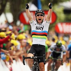 Mark Cavendish celebrates his win at stage 18 of the Tour de France.