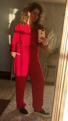 Vintage 1980s Lipstick Red + Statement Red Jumpsuit