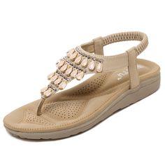 Women Summer Shoes 2017 Hot Breathable Bohemia Sandals Women Fashion String Diamonds Women Shoes Beach Shoes Casual Flat Shoes
