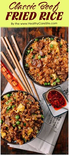 Finding something good to spice up your cooking life? This classicbeef fried rice is much worth trying. Originating in Chinese, this fried ricehas now been loved by Chinese food fans and cooking lovers. Although my familydoesn't often eat rice, we st Meat Recipes For Dinner, Easy Meat Recipes, Healthy Recipes, Weeknight Recipes, Salad Recipes, Healthy Food, Easy Meals, Beef Fried Rice, Beef And Rice