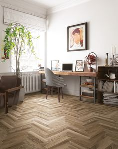 Sierra by Galleria Stone and Tile, wood look floor tile in sand, perfect for your living room or office space