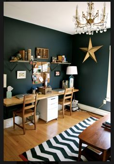 Beautiful wood and hunter green office/child's room idea Home Office Design, Home Office Decor, House Design, Home Decor, Office Ideas, Office Wall Colors, Office Walls, Office Paint, Desk Office