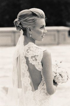 I don't really like the veil underneath the up-do, but I absolutely love the dress and the veil!