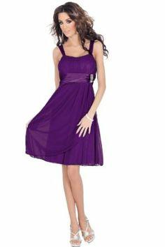 H1380 Purple Designer Sleeveless Rhinestone Empire Waist Sheer Layer Evening Bridesmaid Prom Cocktail Party Mini Partywear Clubwear Celebrity Style Dress