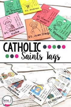 Make teaching the Catholic saints for kids more fun with these adorable Catholic Saint Reward Tags! These printable tags make learning the basics about 78 of our favorite saints more exciting. They create an awesome reference tool, too! Catholic Saints For Kids, Catholic Religious Education, Catholic Crafts, Catholic School, Catholic Homeschooling, All Saints Day, Printable Tags, Ccd Activities, Religion Activities