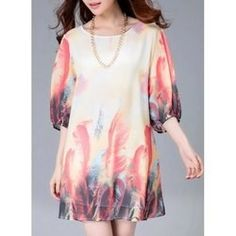 15.93$  Watch now - http://vikfa.justgood.pw/vig/item.php?t=dt00uw36534 - Stylish Scoop Neck Feather Print 3/4 Sleeve Dress For Women 15.93$