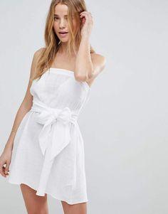ASOS Natural Fabric Bow Front Bandeau Beach Dress