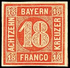 Old German States Bavaria, Michel 13a. 18 Kr. dark vermillion in perfect condition unused, superb in every respect (choice copy), on the base expertized Pfenninger, Michel 1. 200.-