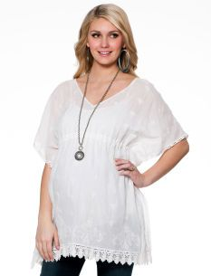 for maternity pics? -Jessica Simpson Short Sleeve Embroidery Maternity T Shirt