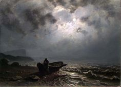 Moonlight on the Norwegian coast, 1876, Knud Andreassen Baade. Norwegian (1808 - 1879)