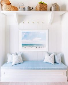 Light and airy coastal-inspired reading nook.