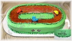 Sprint car race track - MMF cars on carrot cake with cream cheese frosting track