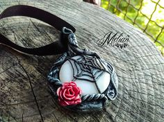 Spider web gothic pendant choker necklace red rose spider
