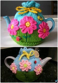 #Knit Flower Garden Tea Cosy Free Pattern-20 Crochet Knit Tea Cozy Free Patterns #Kitchen