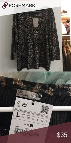 Zara lightweight shirt Brand new with tags. Black charcoal gray and gold color Zara Tops