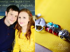 I love how she captured the bracelet against my yellow top.  (Couple shot, yellow top, red button clip, charm bracelet, cherry charm.)