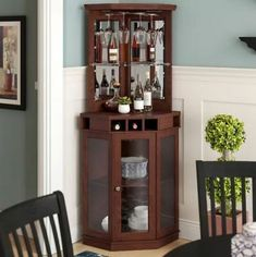 45 Trendy Home Bar Corner Storage Mini Bar At Home, Diy Home Bar, Modern Home Bar, Home Bar Decor, Bars For Home, Corner Wine Cabinet, Home Bar Cabinet, Bar Cabinets For Home, Corner Wine Bar